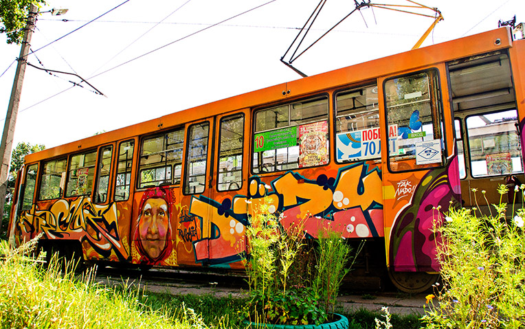Graffiti on a tram in Novokuznetsk, Siberia