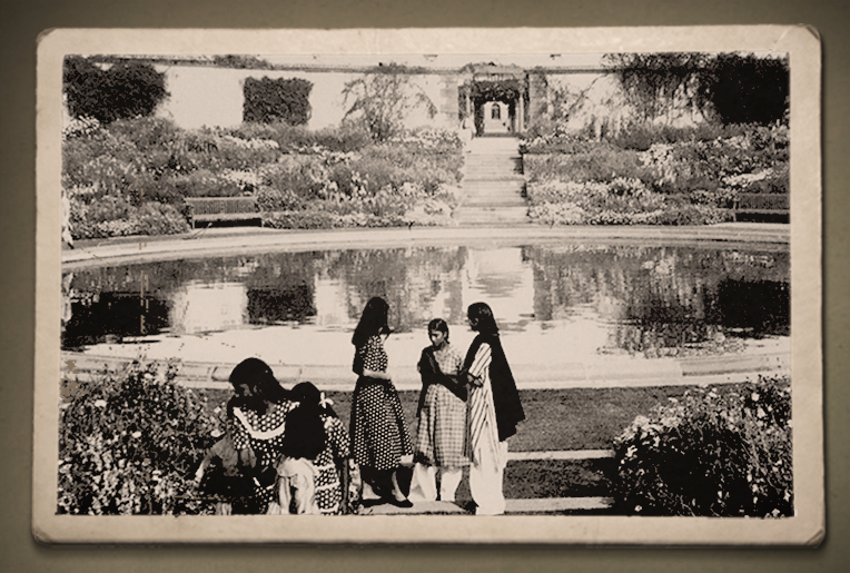 Nani (2nd from right), in the Mughal Gardens
